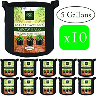 AROMA TREES Round Plant Grow Bags Heavy Duty Thickened Fabric Pot Grow Bags with Handles for Gardening Pots, Aeration Container, Planters Healthy Root System (10-Pack 5 Gallon)