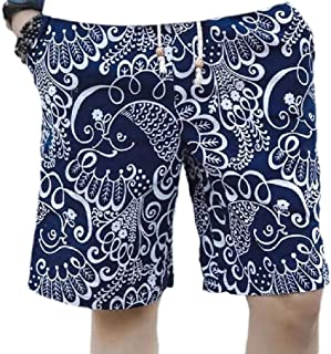 MogogoMen Big and Tall Ethnic Style Beach Shorts Linen Printed Short Pants