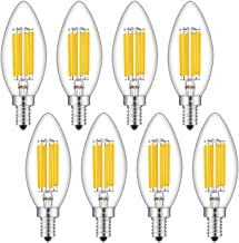 CRLight 6W Dimmable LED Candelabra Bulb 65W Equivalent 700LM, 6 LED Filament Real 6W LED Chandelier Light Bulbs, 2700K Warm White E12 Base, B11 Candle Torpedo Clear Glass Decorative Bulb, 8 Pack
