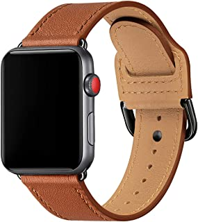 POWER PRIMACY Bands Compatible with Apple Watch Band 38mm 40mm 42mm 44mm, Top Grain Leather Smart Watch Strap Compatible f...