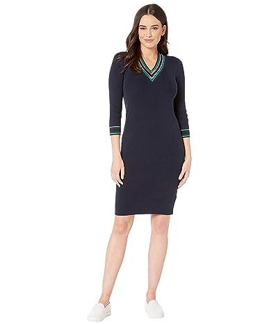 LAUREN Ralph Lauren Ribbed Sweater Dress (Lauren Navy/Silk White) Women