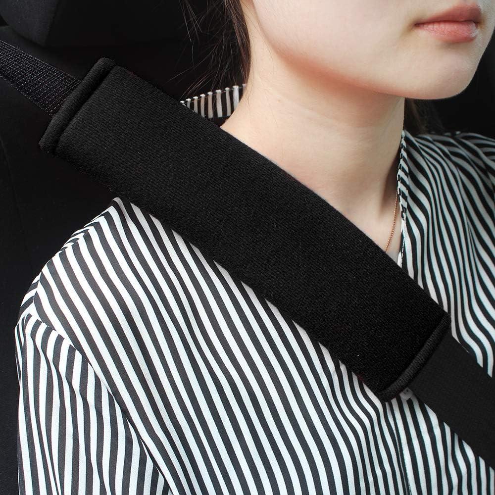 GAMPRO Car Seat Belt Pad Cover kit, 4-Pack Black Cotton Soft Car Safety Seat Belt Strap Shoulder Pad for Adults and Children,Useful Shoulder Suitable for Backpack,Shoulder Bag Cover(BLACK-4Pcs)