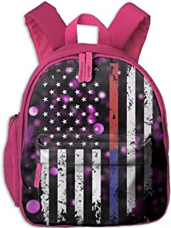 Police And FireFighter Thin Blue Red Line Flag Kid's Mini Backpack Shoulder Schoolbag With Front Pockets