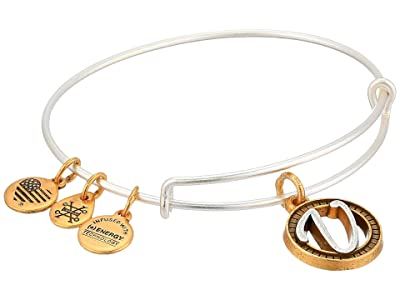 Alex and Ani Initial V Charm Bangle (Two-Tone) Bracelet