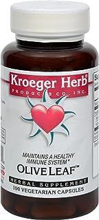 Kroeger Herb Herb Co Olive Leaf - Healthy Immune System - 100 Vegetarian Capsules (Pack of 2)