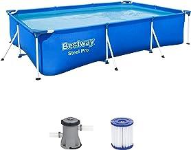 Bestway Steel Pro Frame - Piscina cuadrada (300 x 201 x 66 cm, marco de acero, con bomba de filtro), color azul