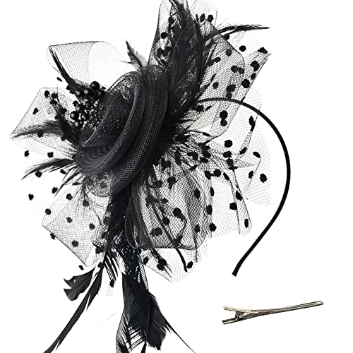 0b75972f22c31 DRESHOW Fascinators Hat Flower Mesh Ribbons Feathers on a Headband and a  Clip Tea Party Headwear