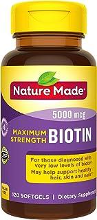 Nature Made Max Strength: Biotin (B7) 5000 mcg. Softgels Value Size 120 Ct