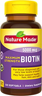Nature Made Maximum Strength Biotin 5000 mcg Softgels, 120 Count Value Size (Packaging May Vary)