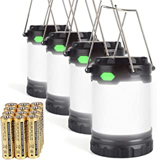 Hillmax 4 Pack Portable LED Camping Lantern with 3 Modes Light Lightweight Outdoor Flashlights Operated by Dual Batteries for Camping, Hiking, Fishing and Emergency, Hurricane, Power Outage Night