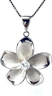 """Sterling Silver Hawaiian Plumeria CZ Pendant Necklace with 18"""" Silver Chain, A6002"""