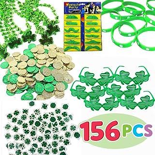 156 Pcs St. Patrick`s Day 6 Necklaces 6 Eyeglasses 12 Bracelets 72 Temporary Tattoos 12 PCS Mustache 48 Plastic Coins St Patricks Day Accessories Party Favor