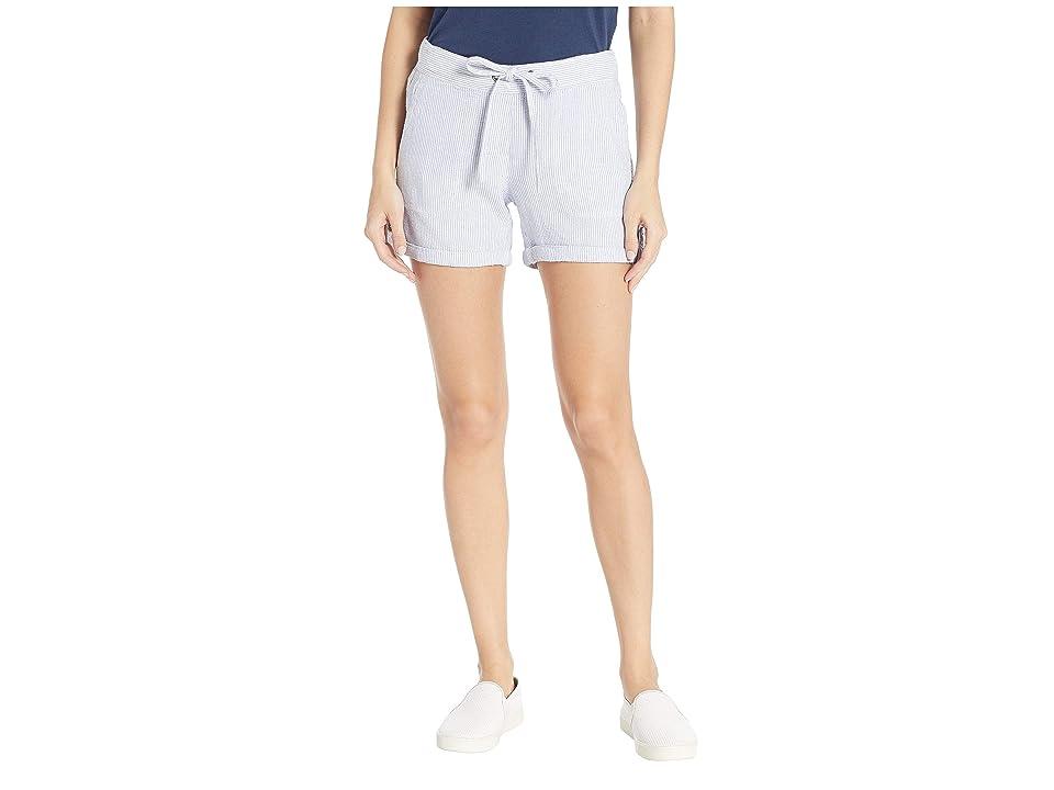 Per Se 5 Linen Tab Roll Shorts (Blue Stripe) Women's Shorts