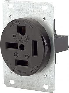 Leviton 8450 50 Amp, 250 Volt, Flush Mounting Receptacle, Straight Blade, Industrial Grade, Grounding, Black