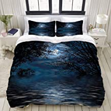 CANCAKA Duvet Cover Set, Witchcraft Spell Ceremony Atmosphere Forest Full Moon Branches, Custom 3 Piece Bedding Set with 2 Pillow Shams, King Size