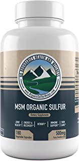 500mg MSM Organic Sulfur Capsules by No Boundaries Health and Wellness – 180 Vegetable Capsules: No Excipients or Fillers – Premium Health Supplement: 99.9% Pure MSM Powder – Joints, Skin, Hair, Nail