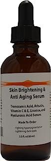 Skin Brightening & Anti Aging Serum with Tranexamic Acid, Arbutin, Licorice, Hyaluronic Acid (2.3oz)