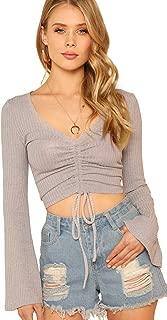 SweatyRocks Women's Casual Long Sleeve V Neck Tie Ruched Knit Crop Top Sweater