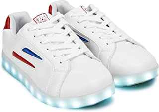 Mr.SHOES 2019 LED 7 Colors Flashing White USB Rechargeable Sneakers with Light