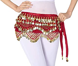 Women's Belly Dance Hip Scarf Wrap Skirt with Gold Coins