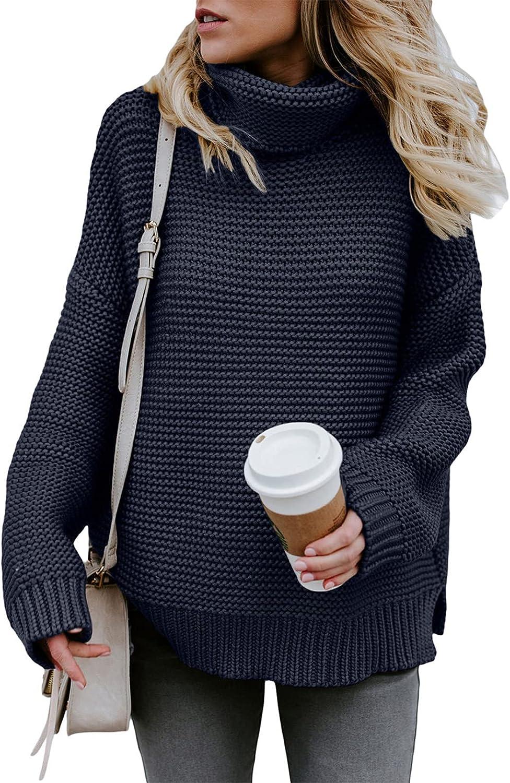 Dokotoo Women Turtleneck Oversized Sweater 営業 Chu 品質検査済 Sleeve Long Solid