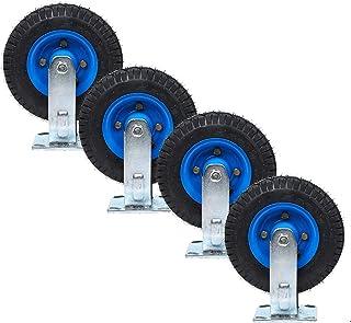 YJJT Vervanging Caster - Stalen plaat wielen, Rubber wielen, Hoge elasticiteit, Roterende stilte, 5mm dikke beugel, slijtv...