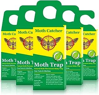 Potente trampa para polillas para la feromona | Trampas para polillas de ropa natural y sin olor | rellenable y no tóxica | Pack de 5 trampas para polillas + 5 insertos gratis (5 unidades)