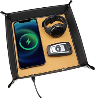 Wireless Charger Valet Tray, 15W Fast Charging,PU Leather Nightstand Catchall Tray Wireless Charger for iPhone Samsung, De...