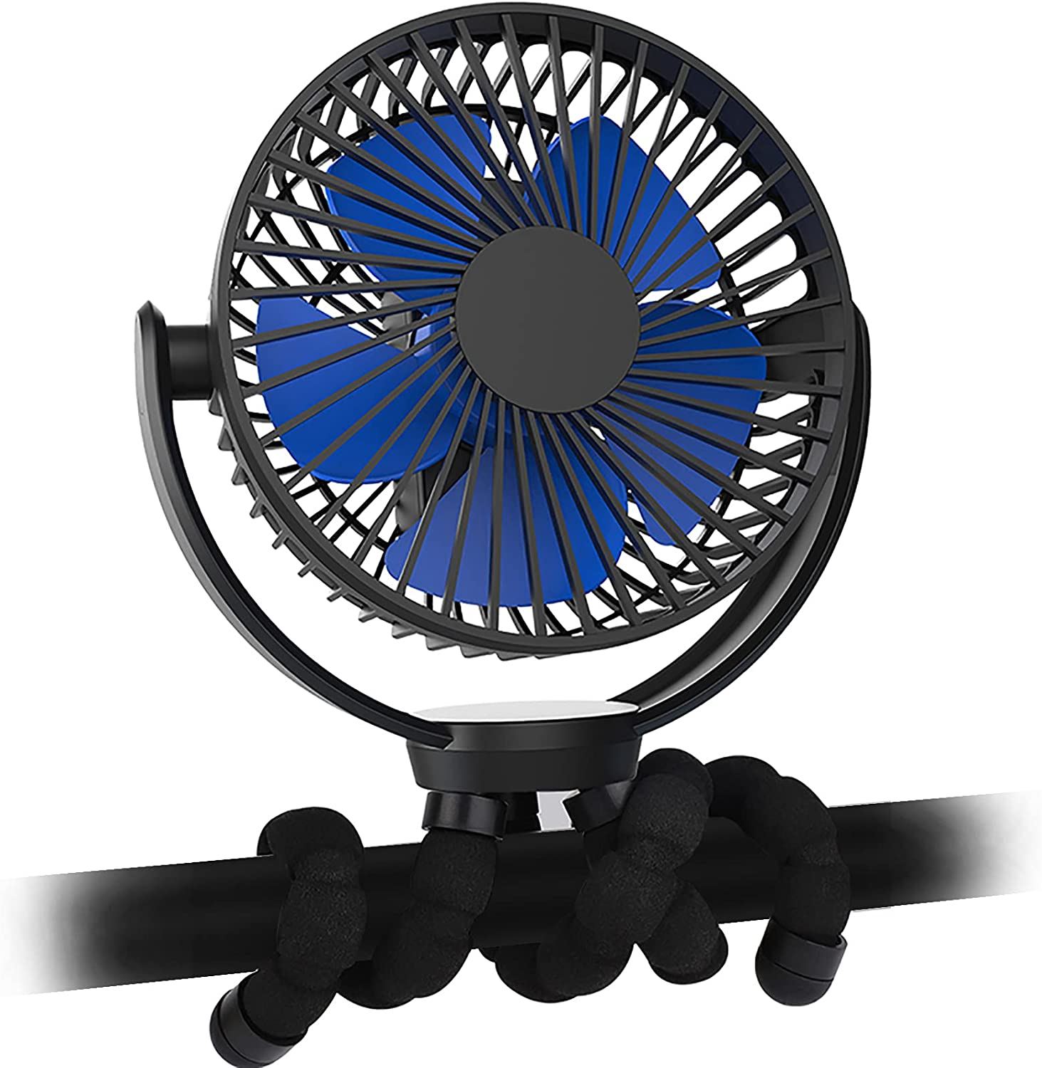 Svinkal Portable Fan,6 Inch Mini Fan,360 ° Rotatable Clip On Fan With Flexible Tripod,5000mAh Battery Operated ,Charging Or Usb Power Supply, Suitable For Strollers, Offices, Desks, Travel, Camping And Other Places