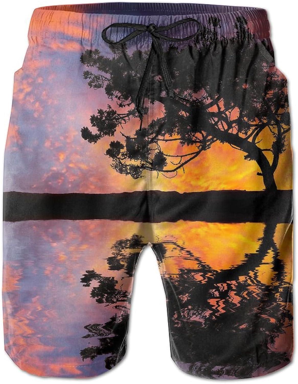 b5fcdc106beab Tydo Fantasy Fantasy Fantasy Sunset Tree Men's Beach Shorts Quick Dry Swim  Trunks Surf Board Pants With Pockets For Men 7d2787