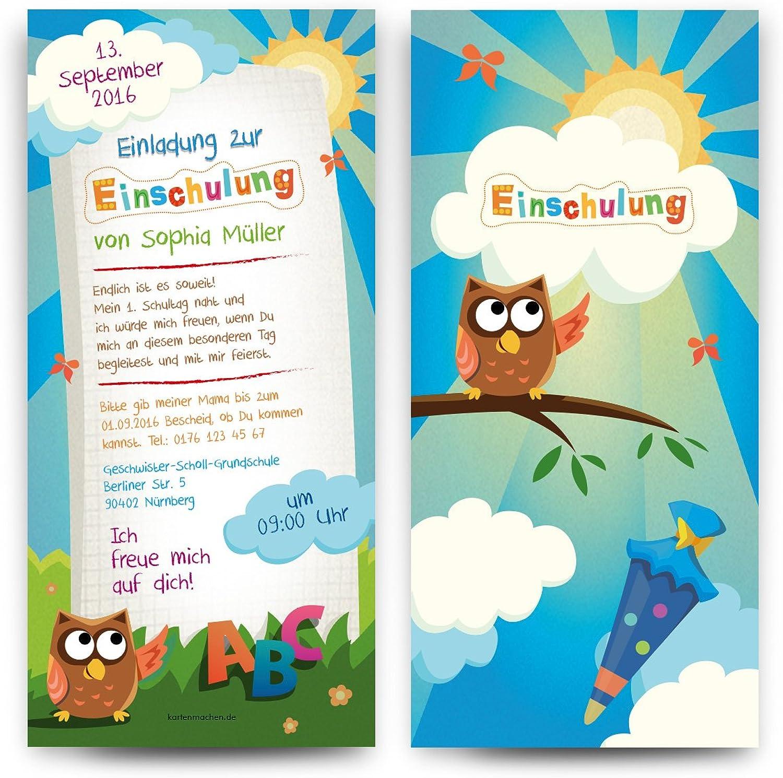Einladungskarten zur Einschulung (40 Stück) - Eule ABC ABC ABC Schultüte Motiv Einladung B01JGP61KM  | Modisch  a3bd06