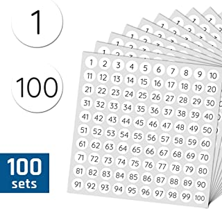 "100 Sheets, 1-100 Number Round Sticker Labels - 0.4"", 10000 Labels"