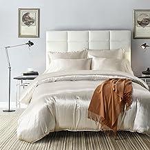 AiMay 3 Piece Duvet Cover Set (1 Duvet Cover + 2 Pillow Shams) Satin Silk Luxury 100% Super Soft Microfiber Bedding Collection Queen D3-FZS-WHITE-q