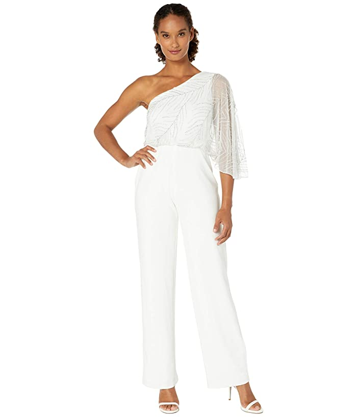 Adrianna Papell  Beaded One Shoulder Jumpsuit with Crepe Pants (Ivory) Womens Jumpsuit and Rompers One Piece