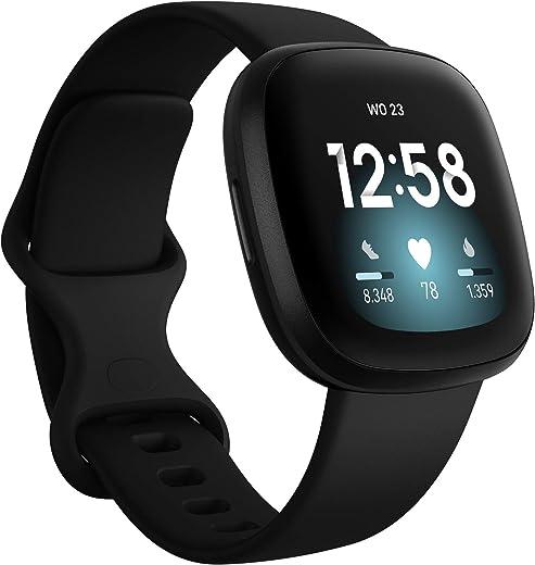 Fitbit Versa 3 - Smartwatch voor een actieve levensstijl met ingebouwde gps, minuten in actieve zones, spraakbediening en tot 6+ dagen batterijduur