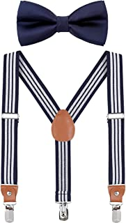 Child Kids Suspender Bowtie Sets - Y Shape Adjustable Suspender with Silk Bowties Gift Idea for Boys and Girls by WELROG