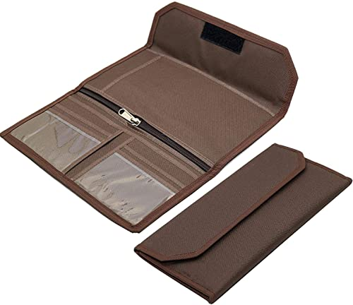 NISUN Multipurpose Multi Pocket Expanding Cheque Book Holder Travel Organizer Document Bag For Small Accessories Black Brown
