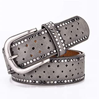 SGJFZD Ladies Belt Fashionable Rhinestone Rivet Inlaid Alloy Pin Buckle Pink Belt Fashion Casual with Jeans Belt Trend (Color : Grey, Size : 110cm)