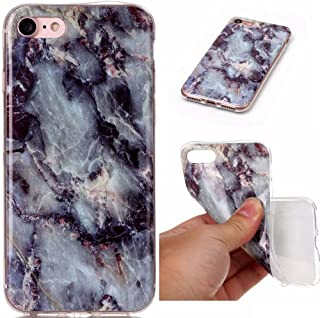 Apple iPhone 7+ / 8+ Plus Marble Design Geode Rock Mineral Pattern Colorful Vein Drop Proof Smooth Flexible Thin Cover [ TPU Gel Case ] Naked Protection Shockproof Protective (Gray / Blue)