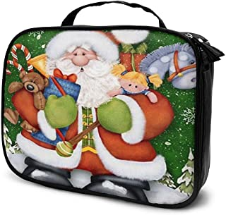 Cosmetic Bag Santa Claus Makeup Bag Lightweight Portable Cosmetic Case Water Resisted Cosmetic Makeup Bag Durable Organizer Makeup Boxes With Insulated Pockets For Travel