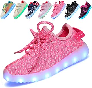 Hotdingding LED Light Up Shoes for Kids Boys Girls USB Charging Fashion Sneaker Flashing Luminous Trainers Shoes