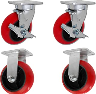 6x2-2 Swivel w/Brakes & 2 Fixed Caster Set - Crowned Red Poly on Iron Wheel - 3,600 lbs per Set