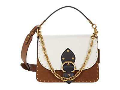 COACH Color-Block Mixed Leather with Border Rivets Beat Shoulder Bag