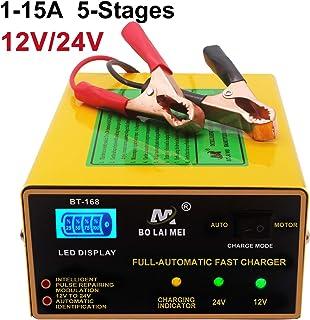 Etrogo Cargador de Coche 12V/24V 5 Fasi 1A a 15A 250W Cargador Rapido de Pulso con Pantalla LED a Barra para Coche Moto