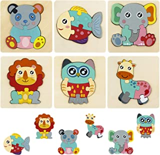 HellDoler Puzzles en Bois,Jouets Montessori Enfant 1 2 3 Ans Bébés Animaux Jeu Educatif Apprentissage pour Enfants,Cadeau ...