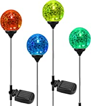 OxyLED Solar Garden Lights Outdoor, 4 Pack Solar Globe Light Stakes, Color-Changing LED Path Light Landscape Lighting, Aut...