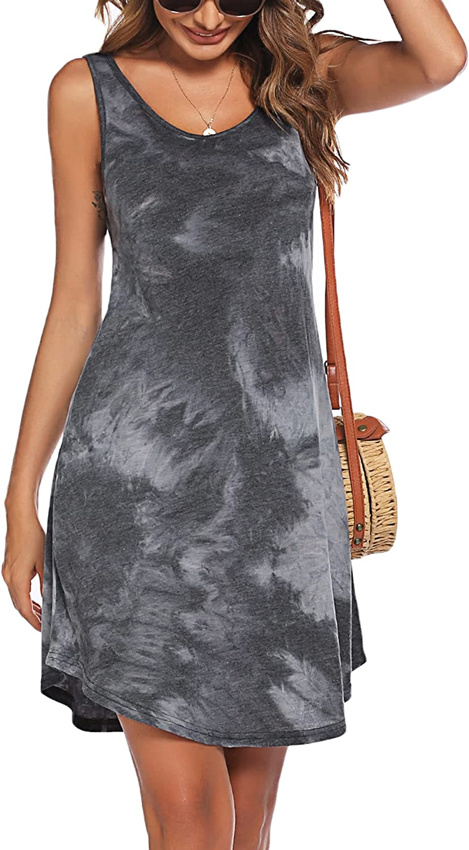 Hotouch Swimwear Cover Ups Womens Summer Sleeveless Beach Coverup Dress for Beachwear with Tie Dye Print S-XXL