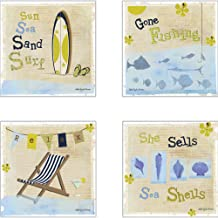 CoasterStone AS10070 By The Sea Absorbent Coasters, 4-1/4-Inch, Set of 4