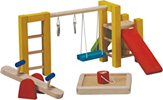 PlanToys Wooden Dollhouse Playground Equipment (7153) | Sustainably Made from Rubberwood and Non-Toxic Paints and Dyes