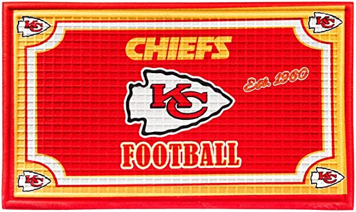 "Team Sports America Kansas City Chiefs NFL Embossed Outdoor-Safe Mat - 30"" W x 18"" H"